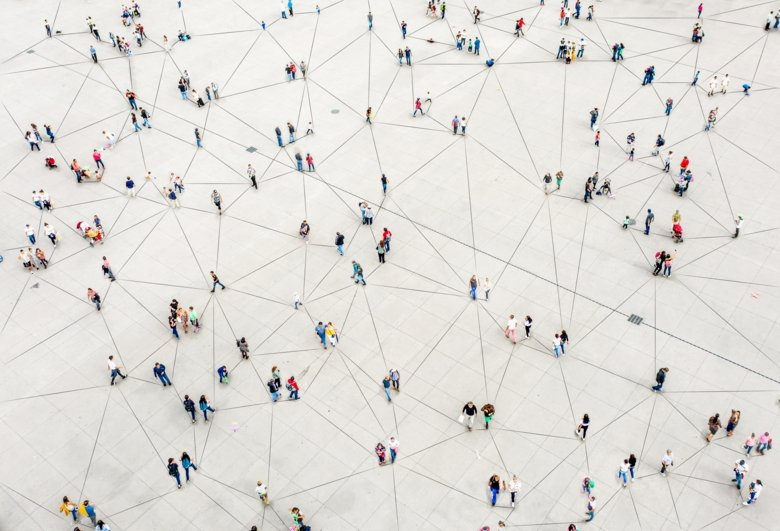 Sky view of scattered people connected by lines