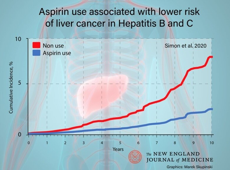 Graphics by Marek Skupinski showing how aspirin use is linked to reduced liver cancer risk among patients with hepatitis B or C
