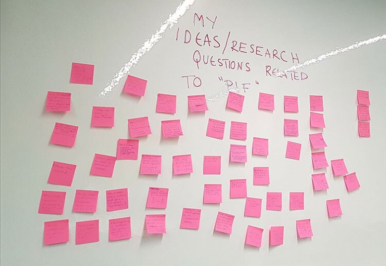 "MMC workshop ""Build program logic models"" - post-it wall with research ideas and questions."