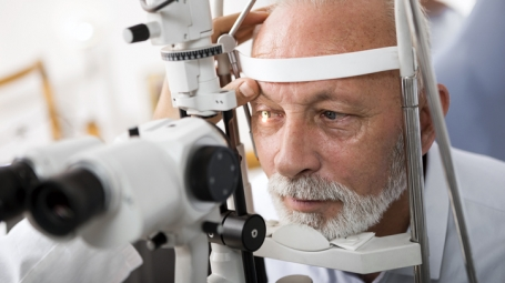 Man gets an eye examination