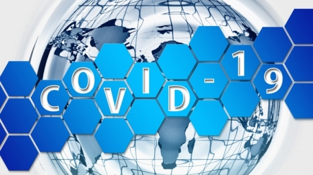 Illustration in blue colours, showing the earth/globe, over this a pattern from cells or a network. The word COVID-19 is written over the illustration.
