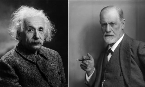 Portraits of Elbert Einstein and Sigmund Freud.
