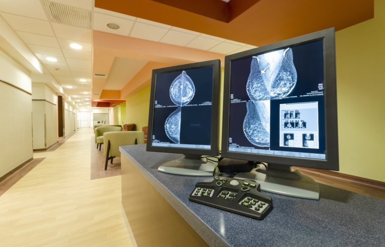 Mammography image on computer screen
